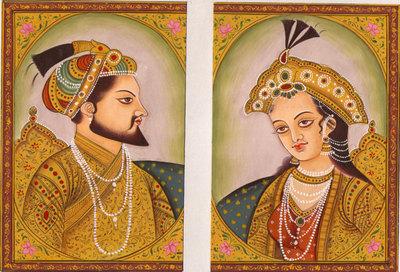 Indian-Miniature-Painting-Hand-Painted-Shah-Jahan-Mumtaz-Mahal-Mughal-Empire-Art-190750939658